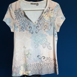 multi color print shirt with copper embellishment